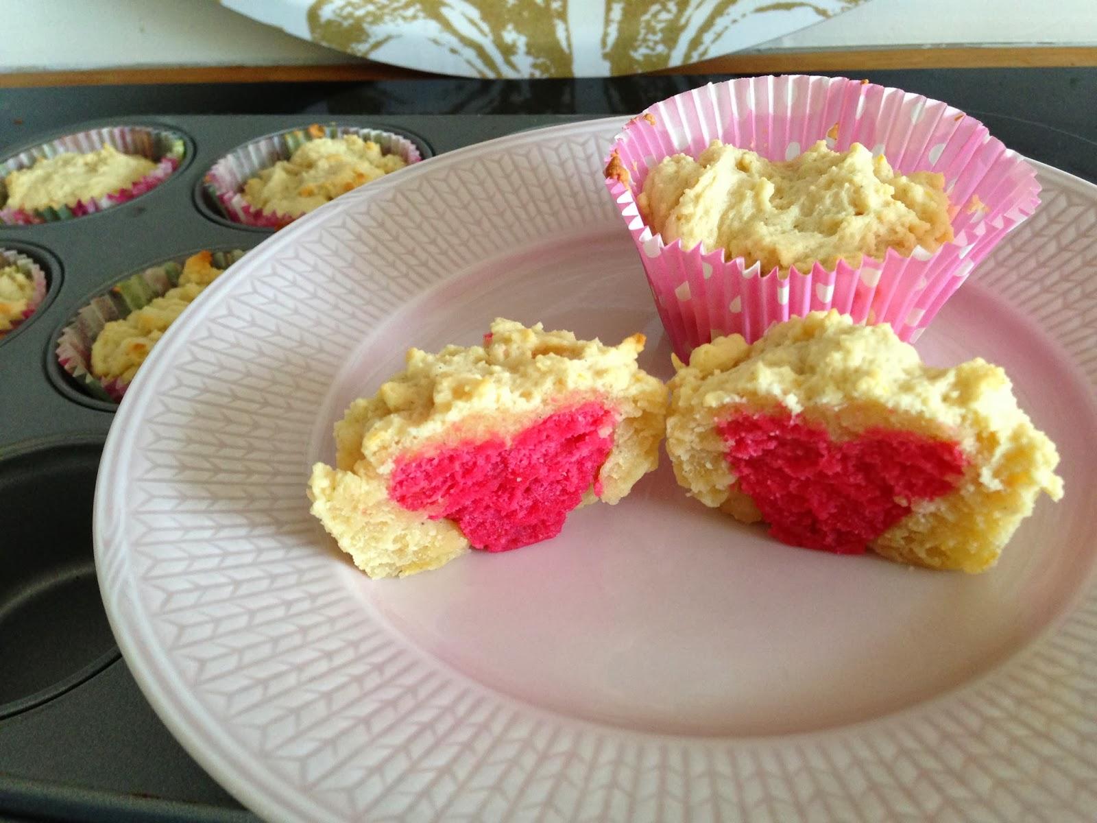 Små söta hjärtmuffins (citronmuffins)